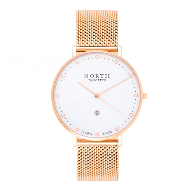 North Twenty Two DR110 Boden White & Rose Gold Mesh Ladies Watch