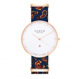 North Twenty Two DR106 Borgholm Rose Gold & Blue Paisley Pattern Nylon Ladies Watch