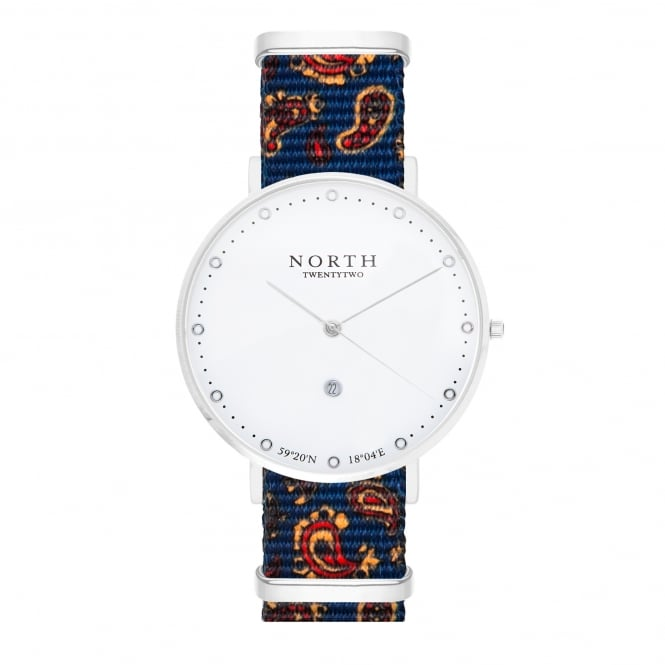 North Twenty Two DS106 Borgholm Silver & Blue Paisley Pattern Nylon Ladies Watch