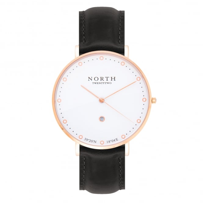 North Twenty Two DR102 Visby Rose Gold & Black Leather Ladies Watch