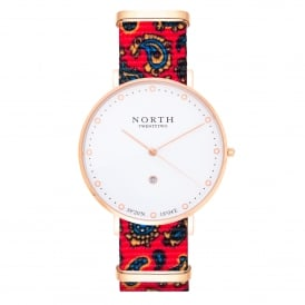 North Twenty Two DR105 Uppsala Rose Gold & Red Paisley Pattern Nylon Ladies Watch