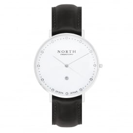 North Twenty Two DS102 Visby Silver & Black Leather Ladies Watch