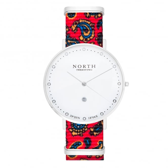 North Twenty Two DS105 Uppsala Silver & Red Paisley Pattern Nylon Ladies Watch