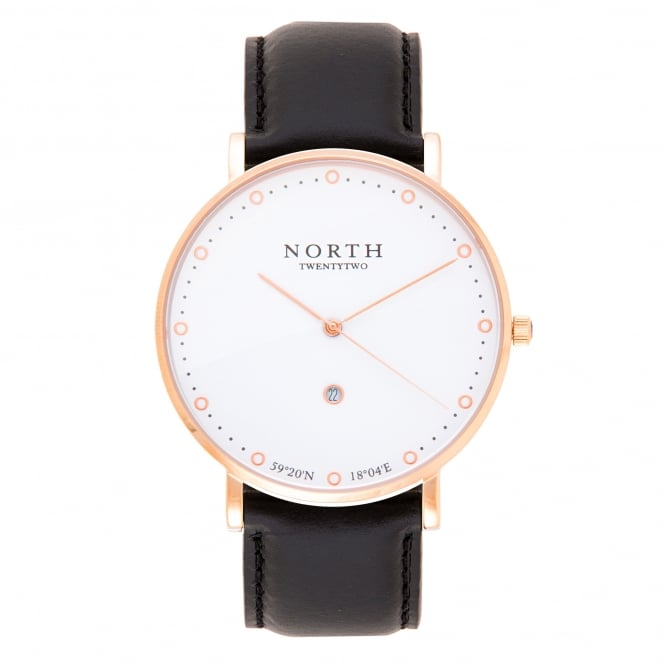 North Twenty Two HR102 Visby Rose Gold and Black Leather Men's Watch