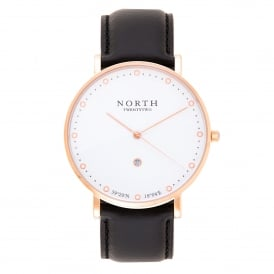 HR102 Visby Rose Gold and Black Leather Men's Watch