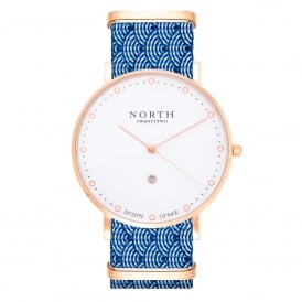 HR104 Bergen Rose Gold & Blue Wave Pattern Nylon Men's Watch