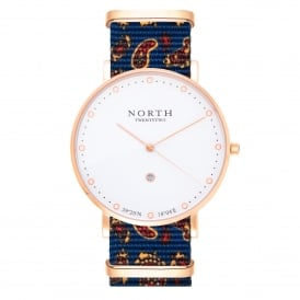HR106 Borgholm Rose Gold & Blue Paisley Pattern Nylon Men's Watch