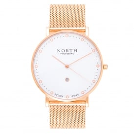 HR110 Boden White & Rose Gold Mesh Men's Watch