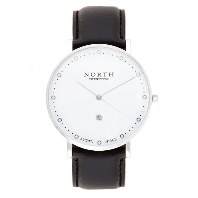 North Twenty Two HS102 Visby Silver & Black Leather Men's Watch
