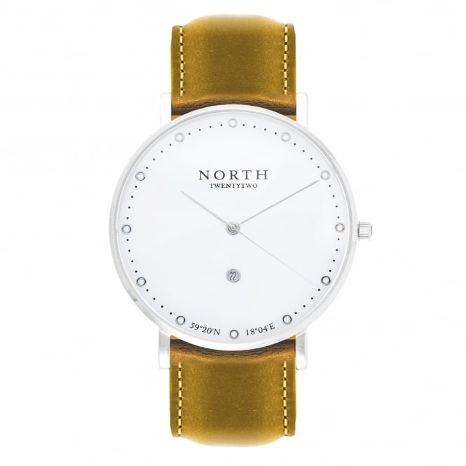North Twenty Two HS103 Oslo Silver & Light Brown Leather Men's Watch