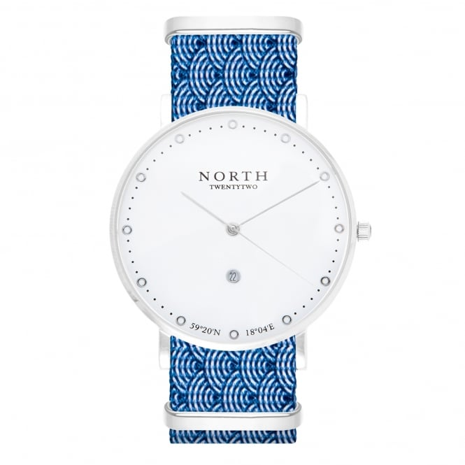North Twenty Two HS104 Bergen Silver & Blue Wave Pattern Nylon Men's Watch