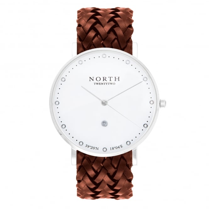 North Twenty Two HS108 Stockholm Silver and Brown Leather Men's Watch