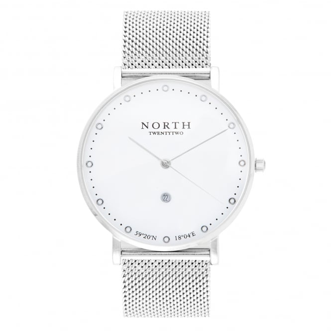 North Twenty Two HS109 Kiruna White & Silver Stainless Steel Mesh Men's Watch