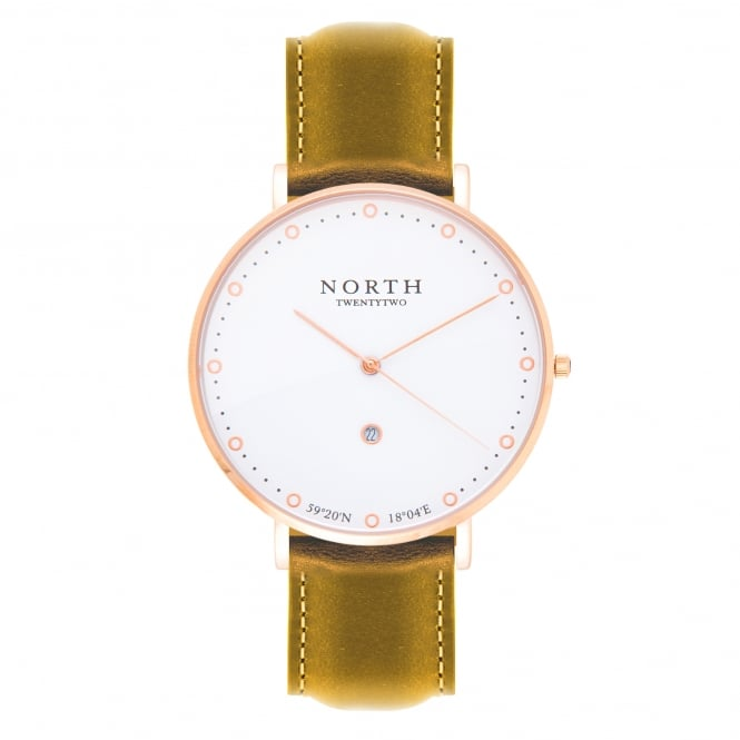 North Twenty Two DR103 Oslo Rose Gold & Light Brown Leather Ladies Watch