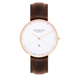 North Twenty Two DR101 Trondheim Rose Gold & Dark Brown Leather Ladies Watch