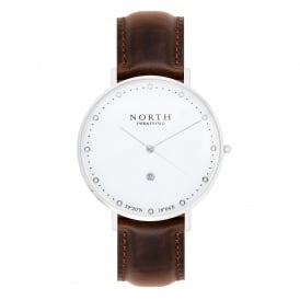North Twenty Two DS101 Trondheim Silver & Dark Brown Leather Ladies Watch