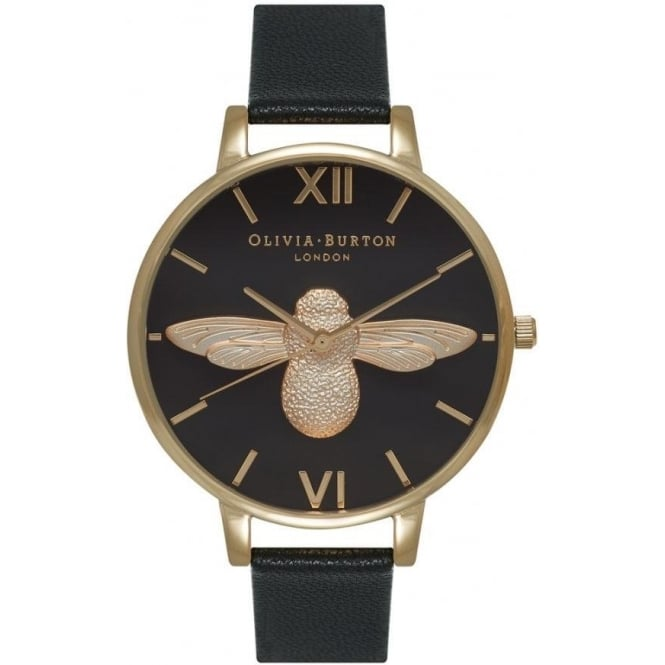 Olivia Burton OB15AM64 Olivia Burton Animal Motif Bee Black Dial and Gold Ladies Watch