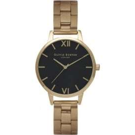 Olivia Burton OB15BL26 Midi Dial Black Dial & Gold Bracelet Ladies Watch