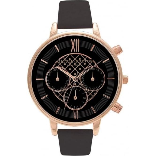 Olivia Burton Olivia Burton OB15CG44 Big Dial Chrono Rose Gold   Black  Leather Ladies Watch 68f7d0f7000c