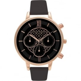 Olivia Burton OB15CG44 Big Dial Chrono Rose Gold & Black Leather Ladies Watch