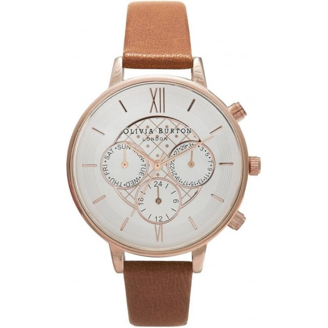 Olivia Burton OB15CG68 Big Dial Chrono Rose Gold & Tan Leather Ladies Watch