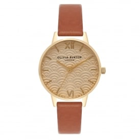 Olivia Burton OB15MD57 Embossed Scalloped Gold & Tan Leather Ladies Watch