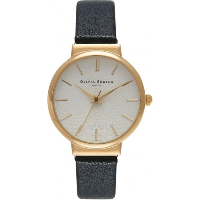 Olivia Burton OB15TH01 The Hackney Gold & Black Leather Ladies Watch