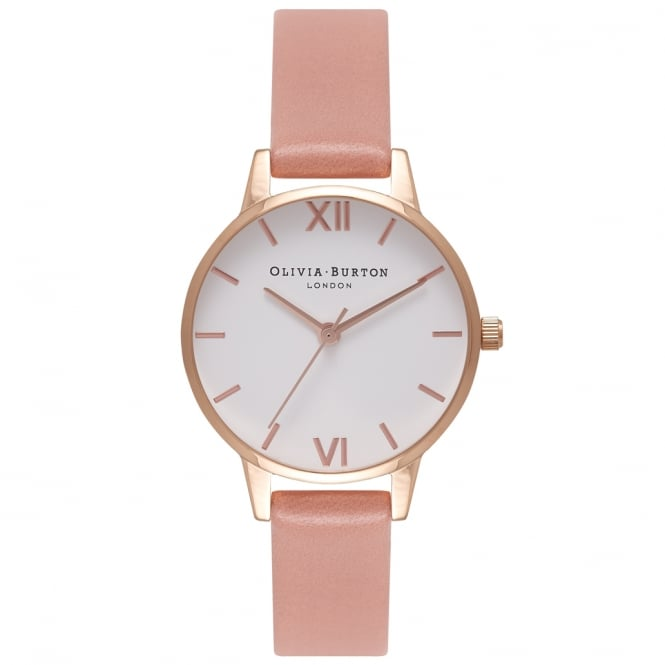 Olivia Burton OB16MDW03 Midi White Dial, Rose Gold & Rose Leather Ladies Watch