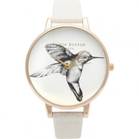 OB13AM06 Olivia Burton Animal Motif Hummingbird Mink & Rose Gold Ladies Watch
