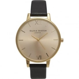 OB13BD06 Olivia Burton Big Dial Black & Gold Ladies Watch