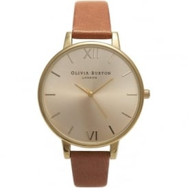 Olivia Burton OB13BD09 Big Gold Dial & Tan Leather Ladies Watch