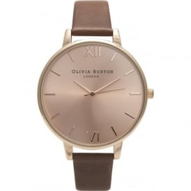 Olivia Burton OB13BD10 Big Dial Rose Gold & Brown Leather Ladies Watch