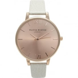 Olivia Burton OB13BD11 Big Dial Rose Gold & Mink Leather Strap Ladies Watch