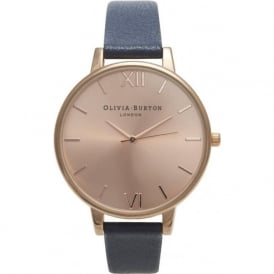 Olivia Burton OB13BD13B Big Dial Navy & Rose Gold Leather Ladies Watch