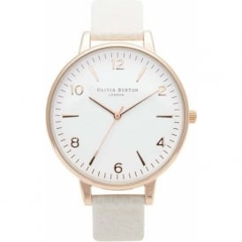Olivia Burton OB13MV07 Modern Vintage White Dial Mink & Rose Gold Leather Ladies Watch