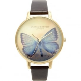 Olivia Burton OB13WL07 Woodland Blue Butterfly Gold & Brown Strap
