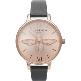 OB14AM58 Animal Motif Moulded Bee Rose Gold & Black Leather Ladies Watch