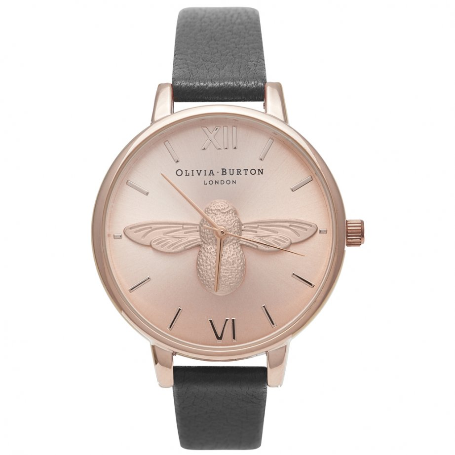 ob14am58 olivia burton rose gold and black leather bee