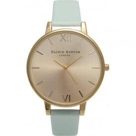 Olivia Burton OB14BD22 Big Dial Mint & Gold Leather Ladies Watch