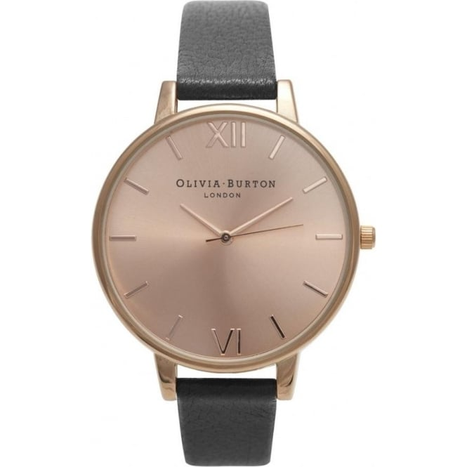 Olivia Burton OB14BD27 Big Dial Rose Gold & Black Leather Ladies Watch