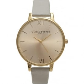 Olivia Burton OB14BD33 Big Dial Gold & Grey Leather Ladies Watch