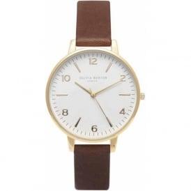 Olivia Burton OB14WF03 Modern Vintage White Dial Midi Brown & Gold Leather Ladies Watch
