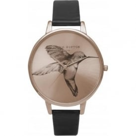 Olivia Burton OB15AM62 Animal Motif Hummingbird Rose Gold & Black Ladies Watch