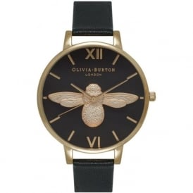 OB15AM64 Olivia Burton Animal Motif Bee Black Dial and Gold Ladies Watch