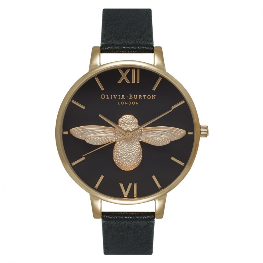 ob15am64 olivia burton animal motif bee black dial and