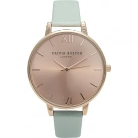 Olivia Burton OB15BD75 Big Dial Rose Gold & Mint Leather Ladies Watch