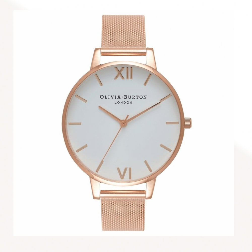bbae06630 OB15BD79 Olivia Burton Big Dial Rose Gold Mesh Watch available at ...