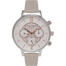 Olivia Burton OB15CG63 Chrono Detail Grey, Silver & Rose Gold Leather Ladies Watch