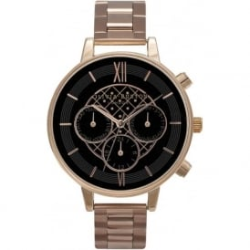 Olivia Burton OB15CG75 Big Dial Chrono Detail Black & Rose Gold Ladies Watch