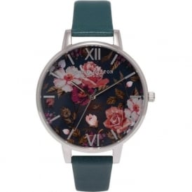 Olivia Burton OB15EG13 Winter Garden Silver & Teal Leather Ladies Watch